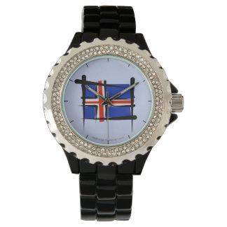 Iceland Brush Flag Wrist Watches