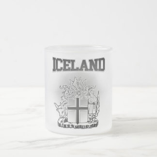 Iceland  Coat of Arms Frosted Glass Coffee Mug