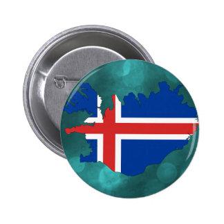 Iceland country flag 6 cm round badge