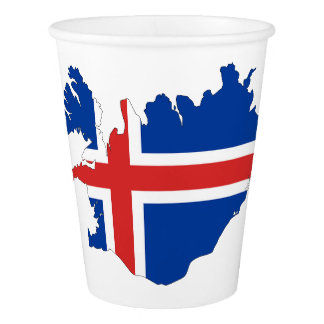 Iceland country flag paper cup