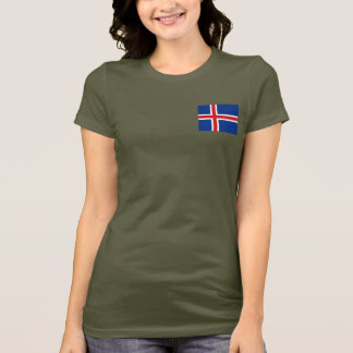 Iceland Flag and Map dk T-Shirt