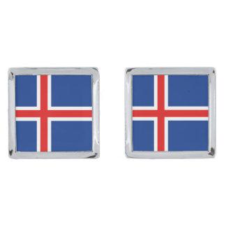 Iceland Flag Cufflinks Silver Finish Cuff Links