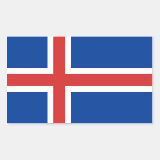 Iceland flag rectangular stickers