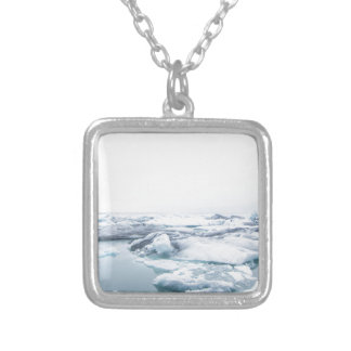 Iceland Glaciers - White Silver Plated Necklace