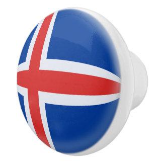 Iceland Icelandic Flag Ceramic Knob