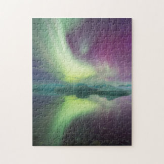 Iceland, Jokulsarlon. Aurora Lights Reflect Jigsaw Puzzle