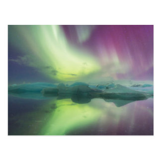 Iceland, Jokulsarlon. Aurora Lights Reflect Postcard