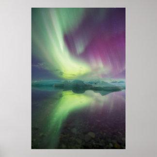 Iceland, Jokulsarlon. Aurora Lights Reflect Poster