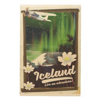 Iceland landscape vintage style travel poster