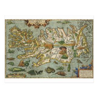 Iceland Map 1590 Postcard