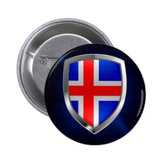 Iceland Metallic Emblem 6 Cm Round Badge