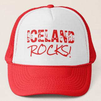 ICELAND Rocks Words Green Trucker Hat