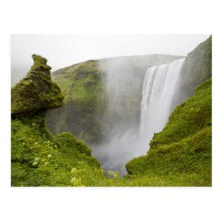 Iceland. Skogarfoss Waterfall plunges over a Postcard