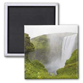 Iceland. Skogarfoss Waterfall plunges over a Square Magnet