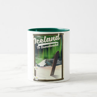 Iceland to Snowboard Two-Tone Coffee Mug