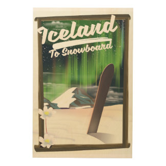 Iceland to Snowboard Wood Wall Decor