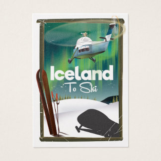 Iceland vintage ski poster business card