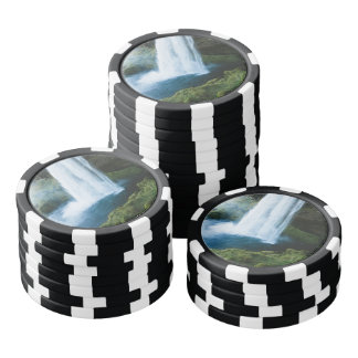 Iceland Waterfall in Summer Poker Chips