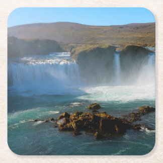 Iceland Waterfall in Summer Square Paper Coaster