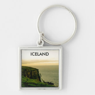 Iceland Waterfall Key Ring Silver-Colored Square Key Ring