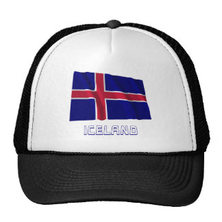 Iceland Waving Flag with Name Mesh Hats