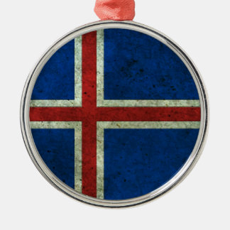 Icelandic Flag Aged Steel Effect Christmas Ornament