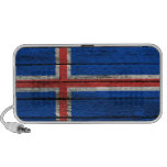 Icelandic Flag with Rough Wood Grain Effect Mp3 Speakers