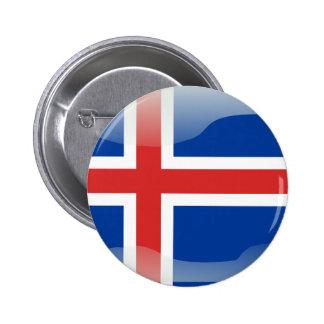 Icelandic glossy flag 6 cm round badge