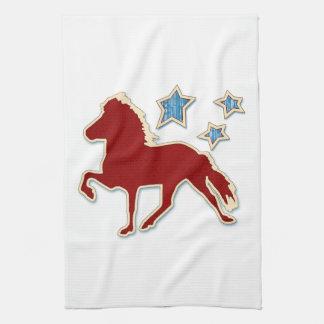 Icelandic Horse Festive Stars Tea Towel