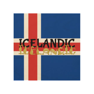 Icelandic Horse Flag Wood Print