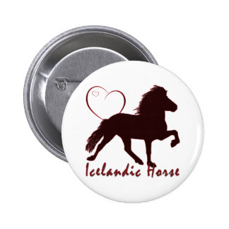 Icelandic Horse Hearts 6 Cm Round Badge