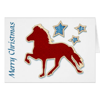 Icelandic Horse Stars Merry Christmas Card