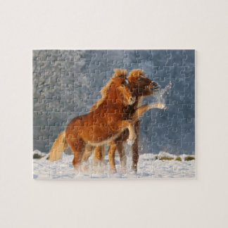 Icelandic horses foal playing in snow jigsaw puzzle