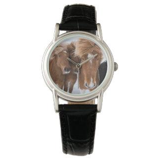 Icelandic Horses nuzzle, Iceland Wrist Watches