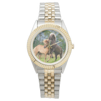Icelandic horses playing and rearing wrist watch