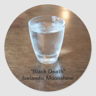 """Icelandic Moonshine """"Black Death"""" Round Sticker"""