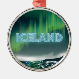 Icelandic Northern Lights Travel Art Metal Ornament
