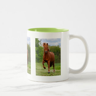 Icelandic Pony at a Tölt Funny Photo Horse Lovers Two-Tone Coffee Mug