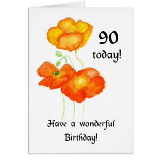 Icelandic Poppies 90th Birthday Card