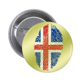 Icelandic touch fingerprint flag 6 cm round badge