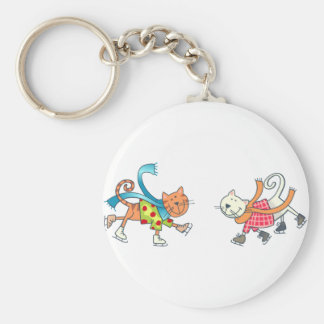 ICESKATING CATS BASIC ROUND BUTTON KEY RING