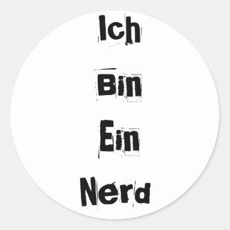 Ich Bin Ein Nerd Round Sticker