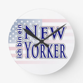 """ich bin ein New Yorker"" Round Wall Clocks"