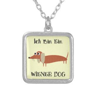 Ich Bin Ein Wiener Dog I Am A Dachshund Square Pendant Necklace