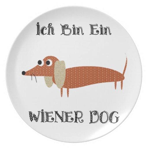 Ich Bin Ein Wiener Dog I Am A Dachshund Party Plates