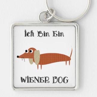 Ich Bin Ein Wiener Dog I Am A Dachshund Silver-Colored Square Key Ring