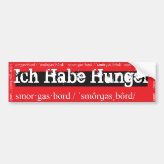 ich habe hunger / I am Hungry red bumper sticker