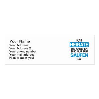 Ich heirate die anderen sind nur zum saufen hier business card template