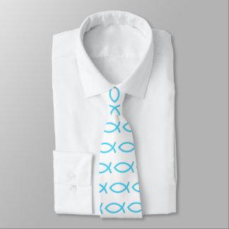 Ichthus | Blue Christian Fish Symbol Tie