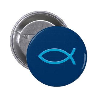Ichthus - Christian Fish Symbol - Blue Button